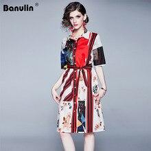 Banulin Designer 2019 Runway Summer Shirt Dress Womens Turn Down Neck Bow Belt Floral Stripe Printing Casual Short