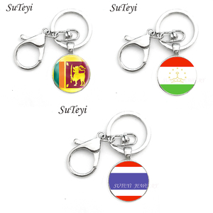 2017 Sri Lanka and Tajikistan and Thailand Flag Red Maple Pendant Key Ring Chain Western Style Retro Gem Key Chain Lobster Clasp(China)