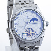 GEDIMAI Stainless Steel Business Mechanical Watches Men Brand Luxury Transparent Hollow Skeleton waterproof Military Watch