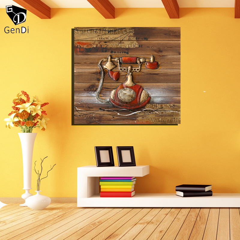 GenDi Classic 3D Old Telephone Canvas Painting Home Decor Vintage ...