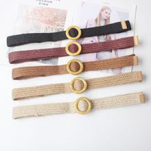 New Vintage Knitted Wax Rope Wooden Bead Waist Rope Women Smooth Buckle Belt Woman Woven Female Elastic Braided Belt BZ38