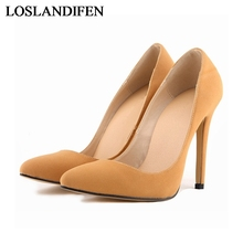 Brand Sexy Point Toe Nubuck Pu Leather High Heels Pumps Shoes 2018 Newest Woman's Red Sandals Heeled Wedding Shoes NLK-A0100 apricot contrast point toe pu heeled slippers