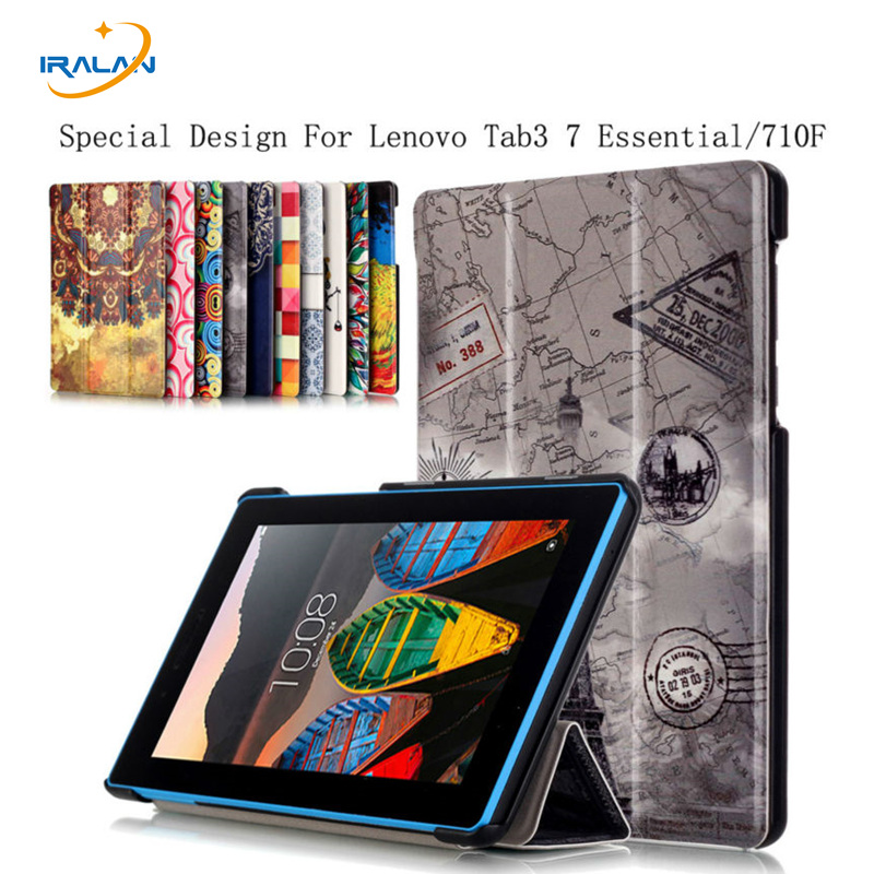 2017 Best selling Print Style PU Leather Cover Stand Case for Lenovo Tab3 7 Essential TB3-710F 710 Tablet 7.0 inch+film+pen gift 2016 newest litchi grain stand pu leather case for lenovo tab 3 7 0 710 essential tab3 710f tablet case flip cover film stylus