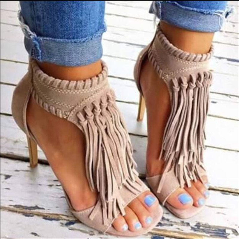 ELGEER 2018 Black Apricot Sexy Women Tassel Sandals Open Top Zipper High Heels 12 cm Sandals Woman Shoes Plus Big Size 34-43