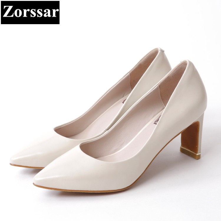 {Zorssar} Single shoes Fashion Real leather womens pumps heels pointed toe high heels women Wedding shoes woman Career shoes siketu 2017 free shipping spring and autumn women shoes fashion sex high heels shoes red wedding shoes pumps g107