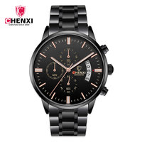 Chenxi 907 Man Black Waterproof Watch Complete Calendar Chronograph Sport Automatic Watch Fashion Simple Generous Man