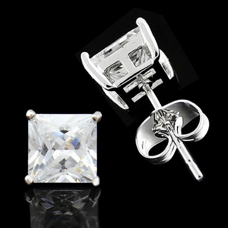 Us 7 99 Wow Mens 10mm Square Cz Clear Stone White Gold Gp Pair Stud Earrings In From Jewelry Accessories On Aliexpress