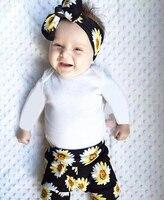 Newborn Infant Baby Girls Clothes Romper Chrysanthemum Pants Headband 3PCS Baby Girls Clothing Sets