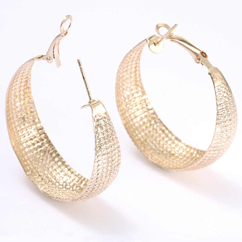 Fashion Female Ethnic Round Hoop Earrings For Women Statement Jewelry Rose Gold Metal Circle Earring Ladies Gifts Punk Brincos