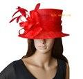 Красный дамы шляпа церковь шляпа Sinamay шляпа для свадьбы, Кентукки дерби