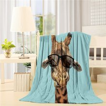 Modern Home Cool Giraffe With Sunglasses Art Prints Fleece Blanket Sheet Throw B
