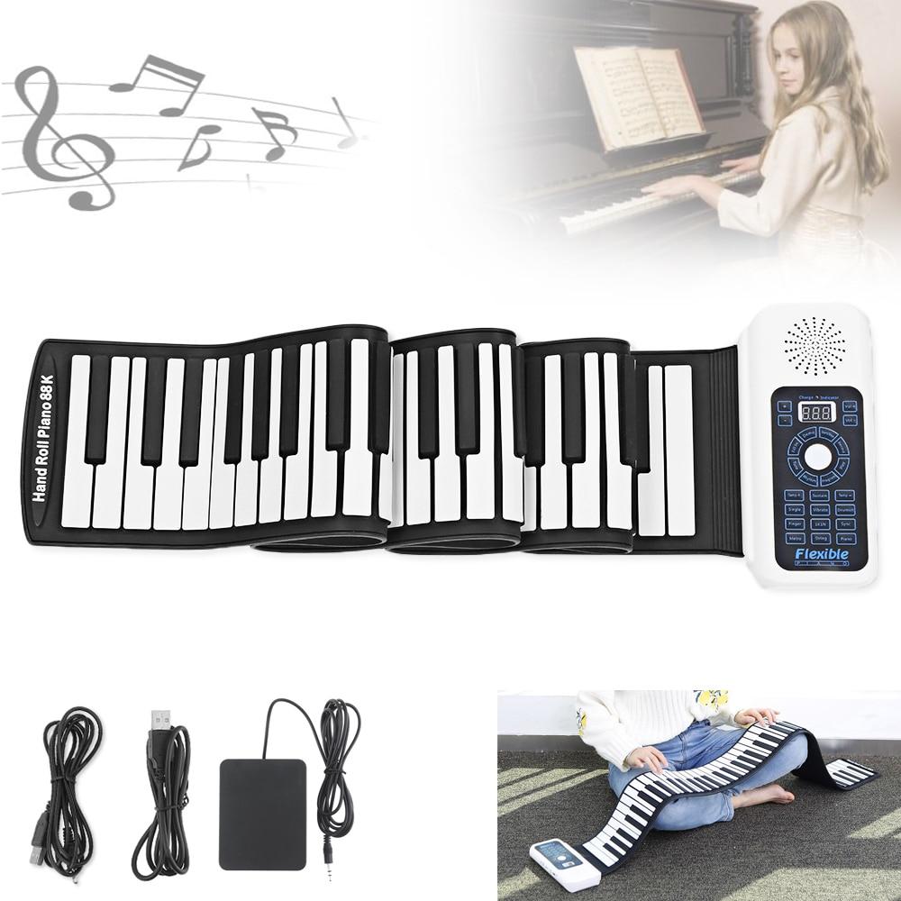 88 clés USB MIDI Roll Up Piano Électronique Portable Silicone Flexible Clavier Organe Haut-Parleur Intégré avec Pédale de Sustain