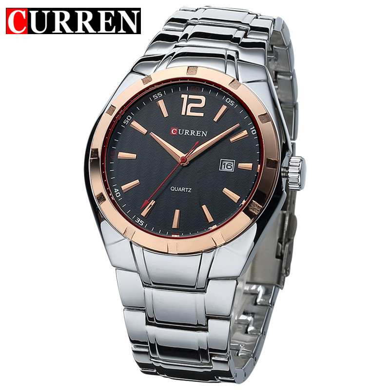 2017 CURREN Luxury Brand Stainless Steel Strap Analog Display Date Men's Quartz Watch Casual Watch Men Watches relogio masculino original curren luxury brand stainless steel strap analog date men s quartz watch casual watch men wristwatch relogio masculino