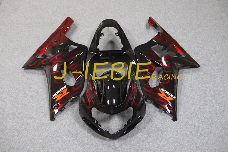 Black red fire Injection Fairing Body Work Frame Kit for SUZUKI GSXR 600/750 GSXR600 GSXR750 2001 2002 2003