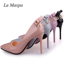 La Maxpa Women Bowknot Pumps High Heels Femals Shoes Pumps Hollow Pointed Toes Women Heels Shoes Sweet Pink Nude Stiletto 10.5cm fashion sweet women 10cm high heels pumps female sexy pointed toe black red stiletto high heels lady pink green shoes ds a0295