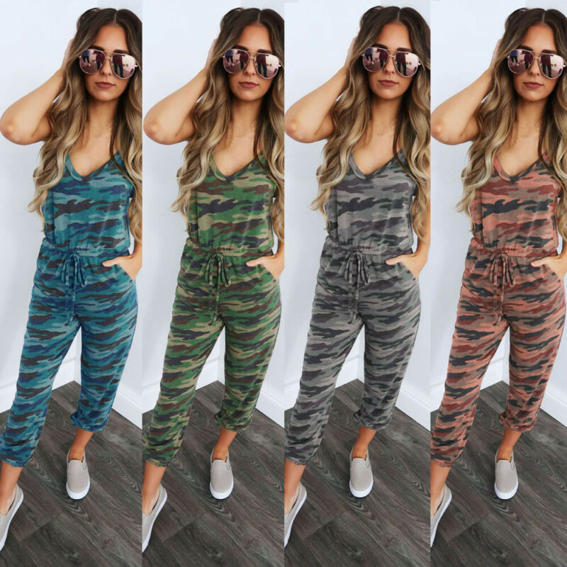 Hirigin Women Sleeveless V Neck Strappy Jumpsuit Rompers Ladies Summer Slim Fit Pants Camouflag Trousers Playsuit
