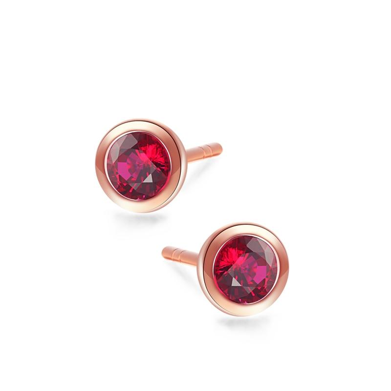 VOJEFEN 18K Rose Gold Earrings Cubic Zirconia Stud Earrings Round Highlight Halo Earring for Women Men (Rose red, Green, white)