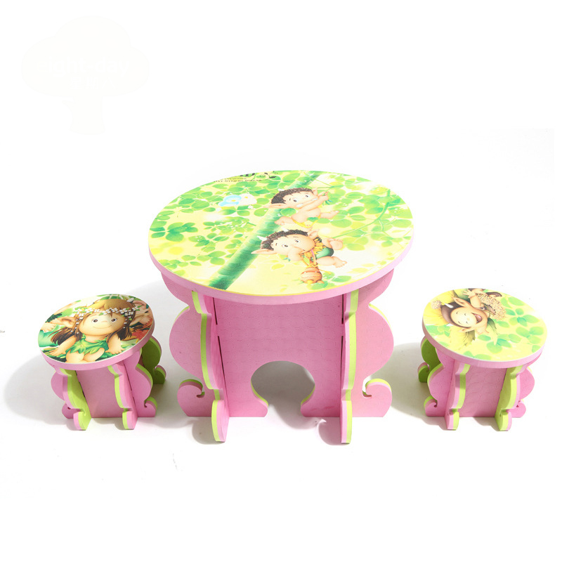 Environment Friendly Cartoon Baby Foam Thickening Entertainment Children's Desk And Chair Set цены