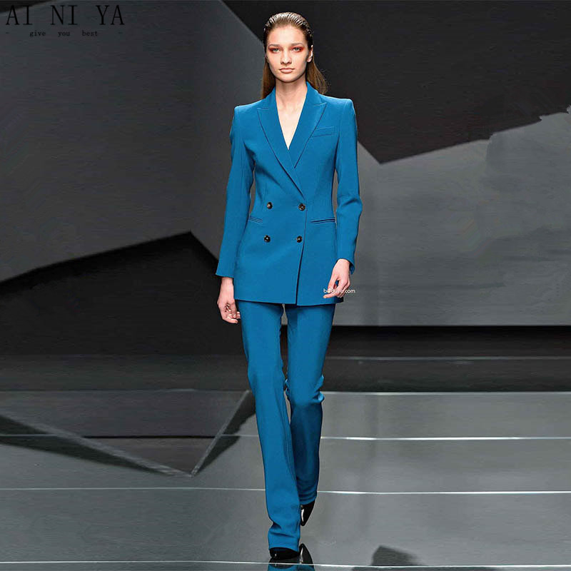 Custom Lake Blue Women Business Suits Formal Office Suits Work 2 Piece Blazer Set Ladies Trouser Suit Evening Women Tuxedo Back To Search Resultswomen's Clothing Suits & Sets