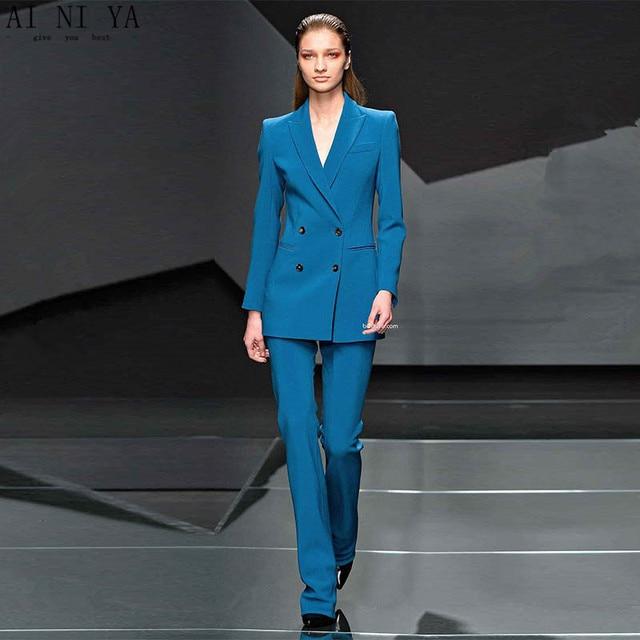 Jacket+Pants Lake Blue Women Business Suits Blazer Female Office Uniform  Double Breasted Ladies Winter Formal Trouser Suits 3bbc91f4167b