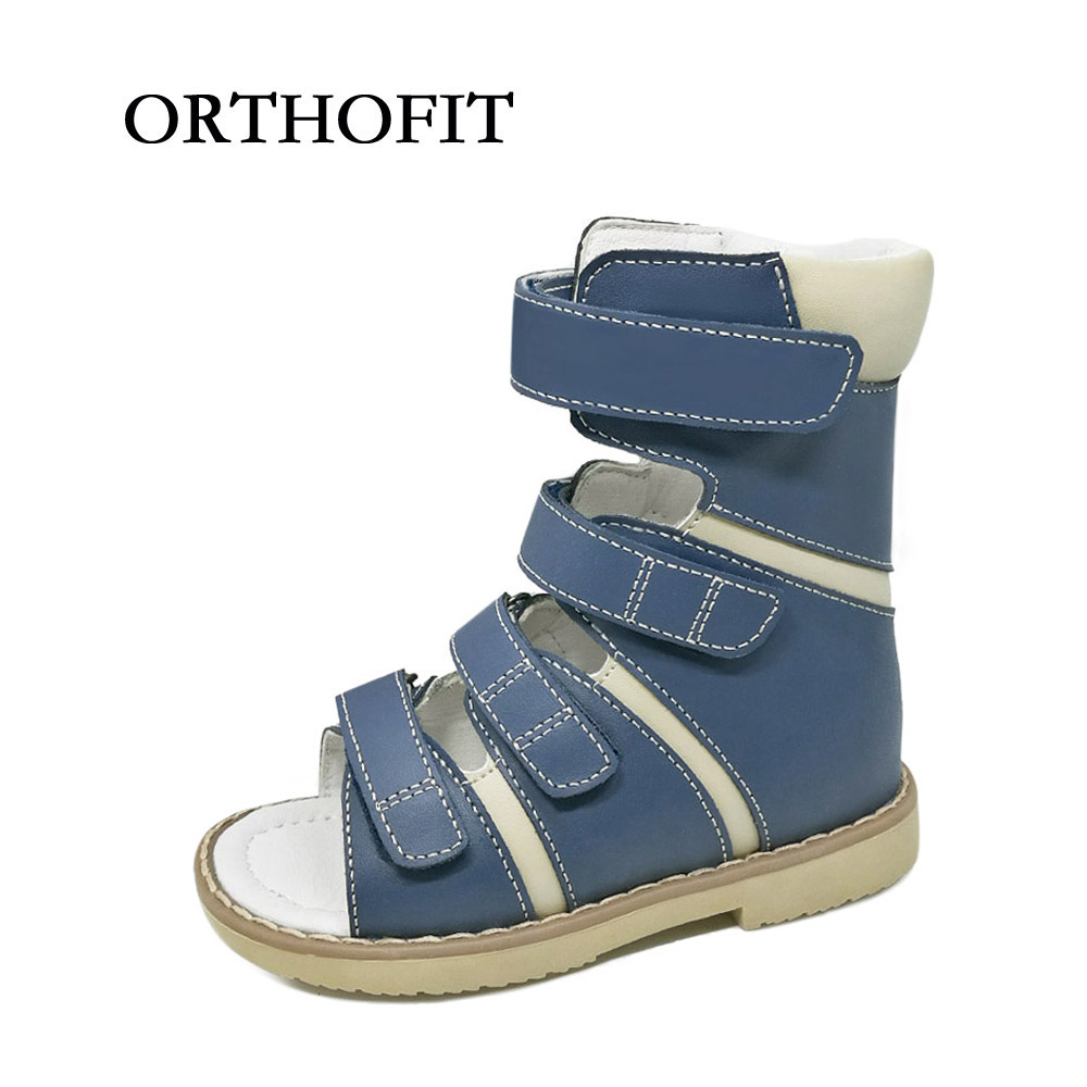 2017 Latest 16cm black high cut children orthopedic shoes genuine leather boy sandals with ankle support