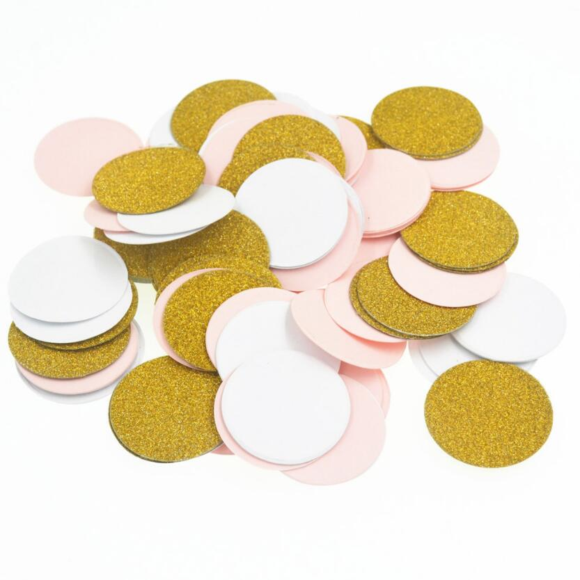 500pcs 3cm Gold/White/Pink Round Paper For Wedding Bridal Party Throwing Confetti Baby Shower Table Decoration Scatter Sprinkles