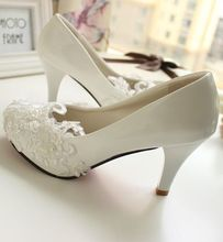 High heeled or custom made the heel wedding shoes white color lace pearl all handmade bridal pumps party shoe XNA 089
