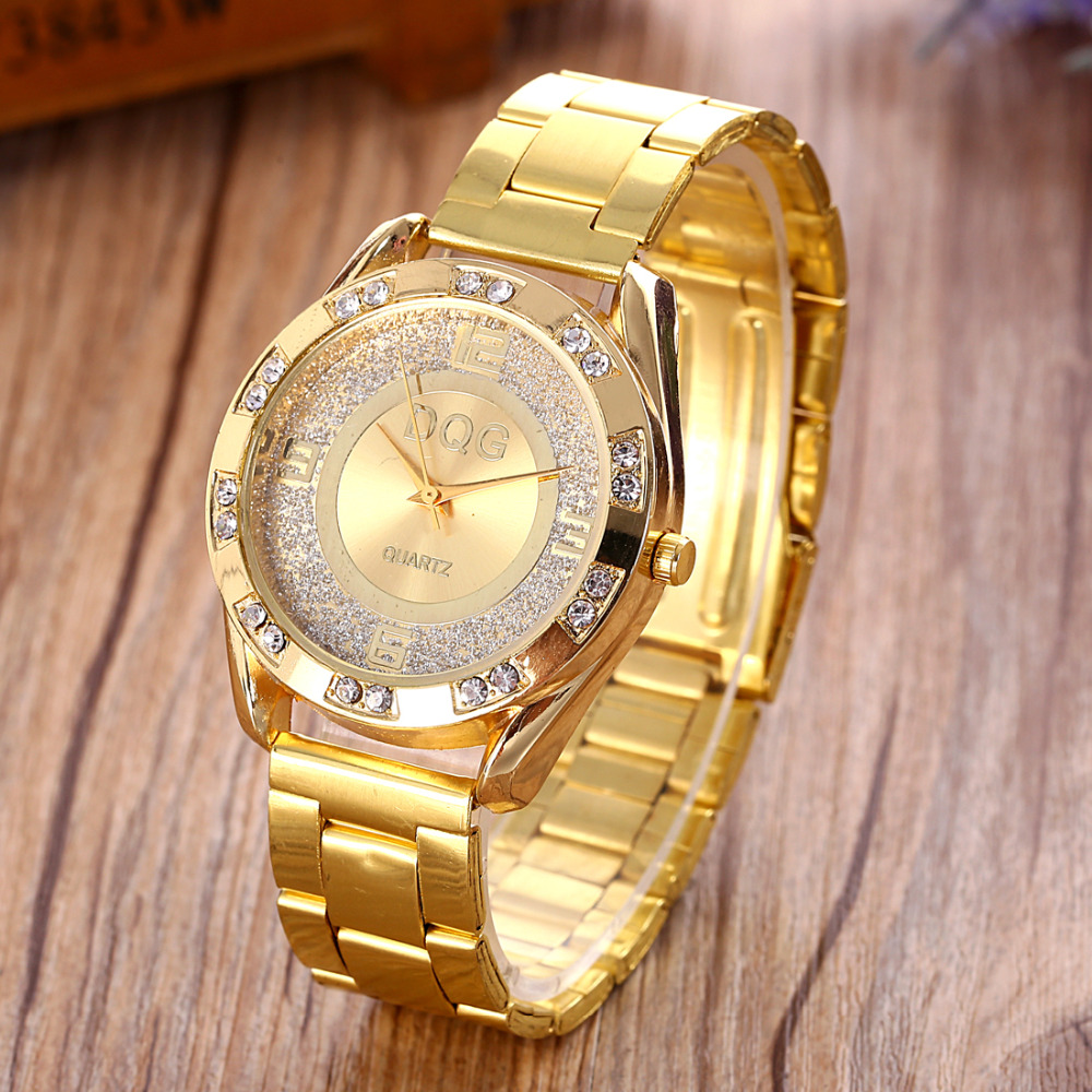 2019 New Famous Brand DQG Women Gold Stainless Steel Quartz Watch Crystal Luxury Casual Analog Watches Relogio Feminino Hot Sale