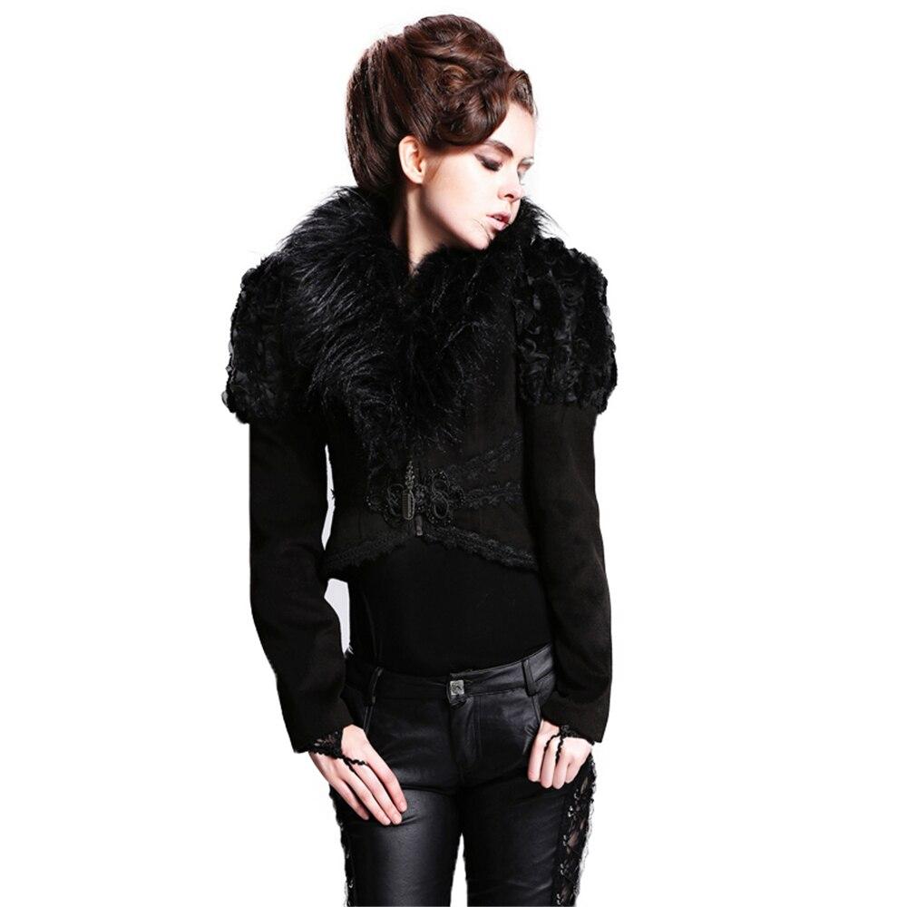 Punk Gothic Detachable Fur Collar Jackets Punk Women's Short Jacket Lapel Neck Fishtail Jackets with Back Lacing