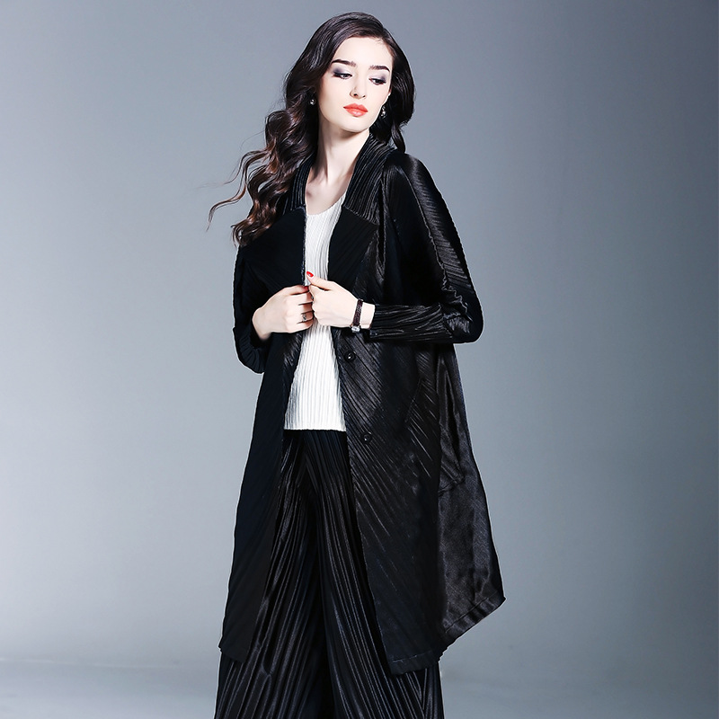 Vêtements Automne Plis Nouveau Printemps Black Plus Long Gratuite Mode Noir Coat Trench Livraison Femmes Casual Taille Manteaux Mince La Miyake Survêtement a5wPA