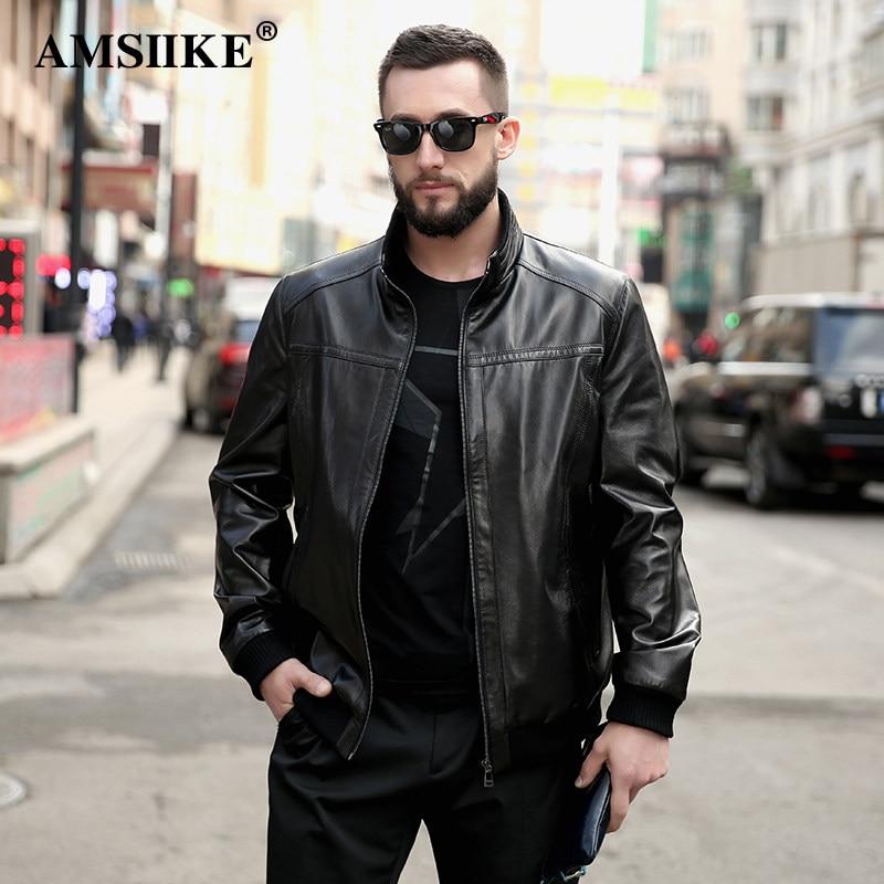 c1c4ca0ea03 AMSIIKE Men Jacket Genuine Leather Coat Black Casual Real Leather Sheepskin  Outerwear Spliced Thin Coat Plus