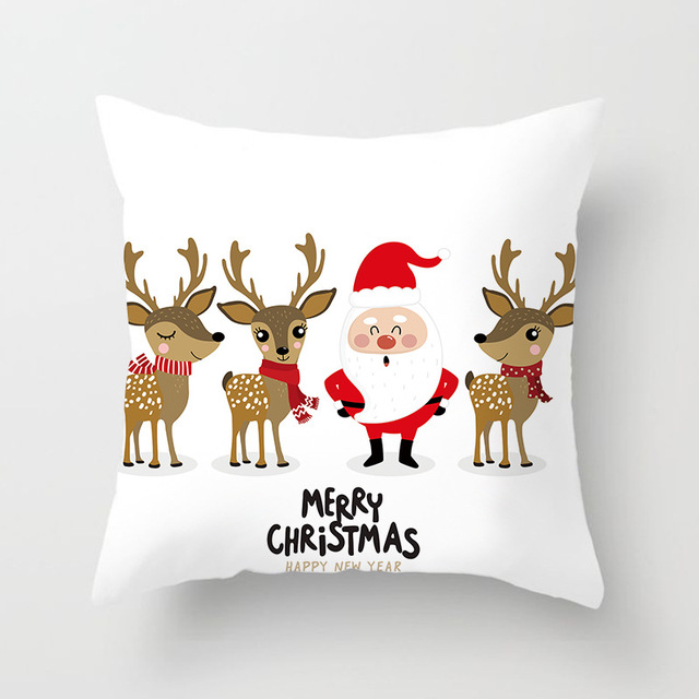 Christmas Cushion Cover Merry Christmas Decoration Pillowcases Santa Claus Polyester Throw Pillow Case Cover kerstmis navidad 1