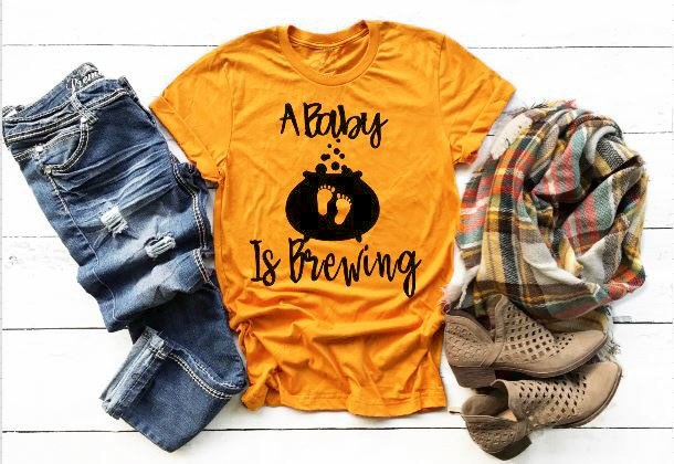 Halloween Pregnancy T Shirt.Us 7 91 15 Off A Baby Is Brewing T Shirt Halloween Pregnancy Announcement Funny Slogan Graphic Feet Print Cute Kawaii Tee Tumblr Top Gift Shirt In