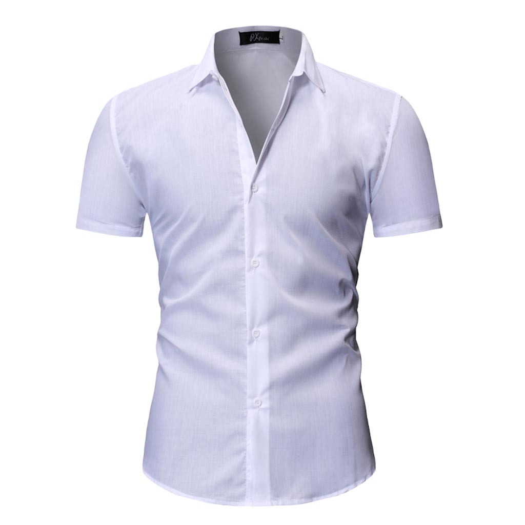 Offen Männer Kleid Shirt Kurzarm Sommer Hohe Qualität Männer Shirts Casual Formal Slim Fit Tops D90408 2019 Offiziell Herrenbekleidung & Zubehör