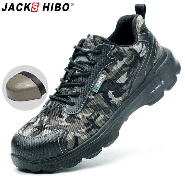 JACKSHIBO Toe Đàn Ông Thép Giày An Toàn Chống đập Giày Làm Việc Cho Nam Xây Dựng Khởi Động An Toàn Giày Mùa Hè giày Thoáng Khí