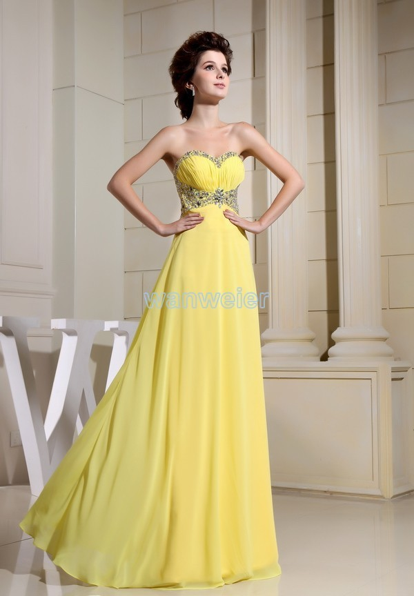 Real Photo yellow Chiffon free Shipping 2018 vestido de festa Formal gown Long New Design Brides Custom Prom   bridesmaid     dresses