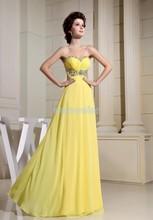 free shipping 2014 formal dress maxi dresses long new design brides maid custom size/color yellow prom Graduation Dresses