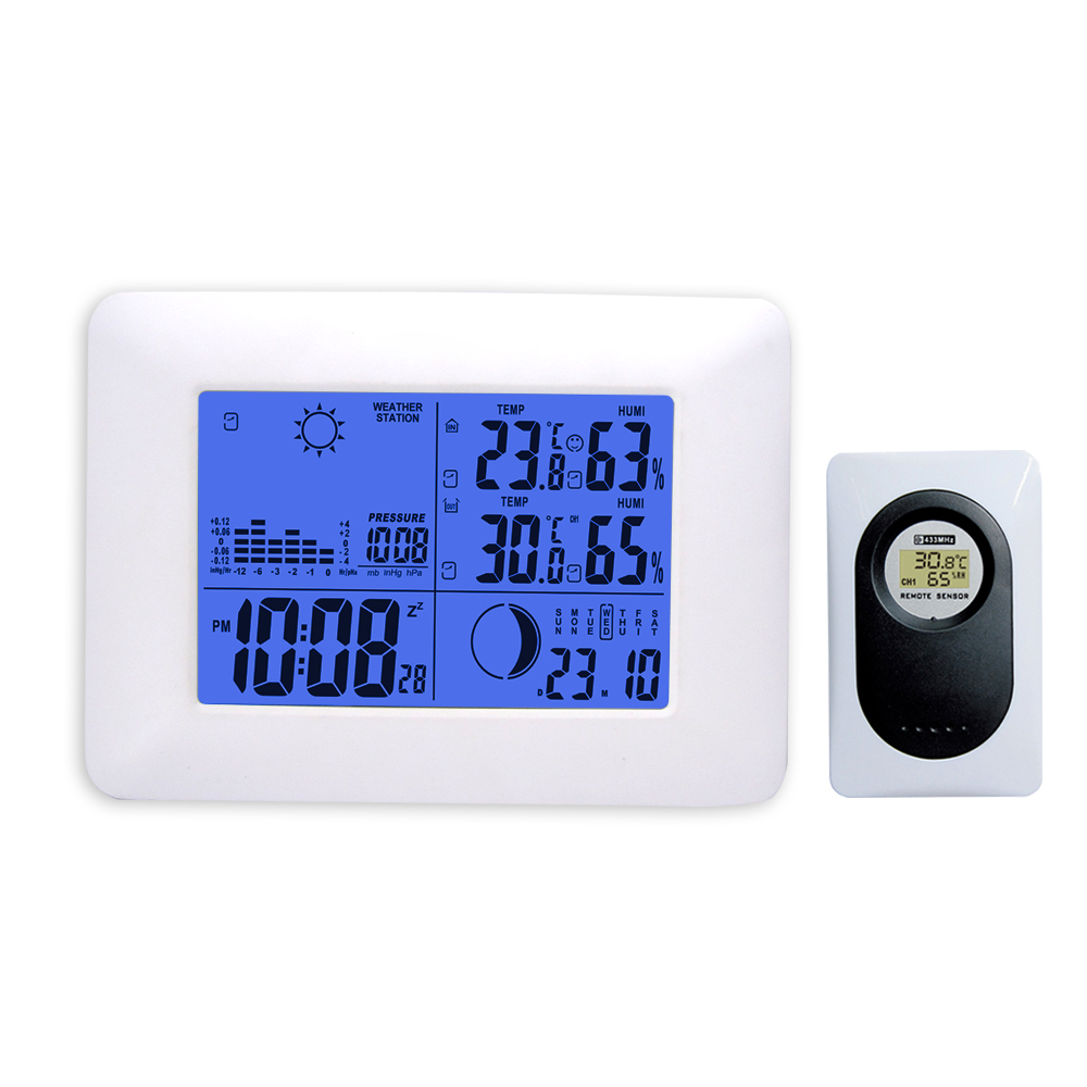 White Wireless Weather Station Indoor Outdoor Temperature Humidity Blue Backlight Barometer Digital Alarm Clock Remote Sensor цена