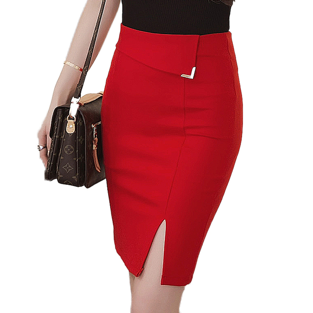 Faldas Mujer 2017 Women's Fashion High Waist Mid Length Tight Stretch Skirt Sexy Blue Red Black Pencil Skirts Ladies OL Skirts