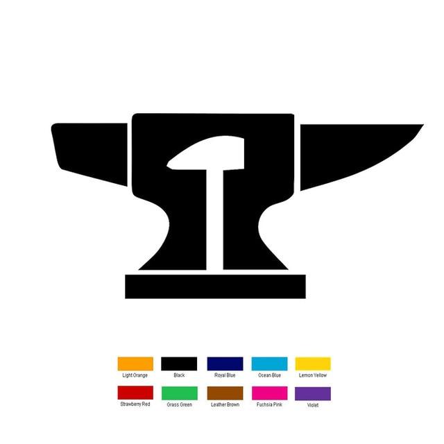 Wholesale 10 Pcslot 15cm X 10cm Anvil Hammer Symbol Car Sticker For