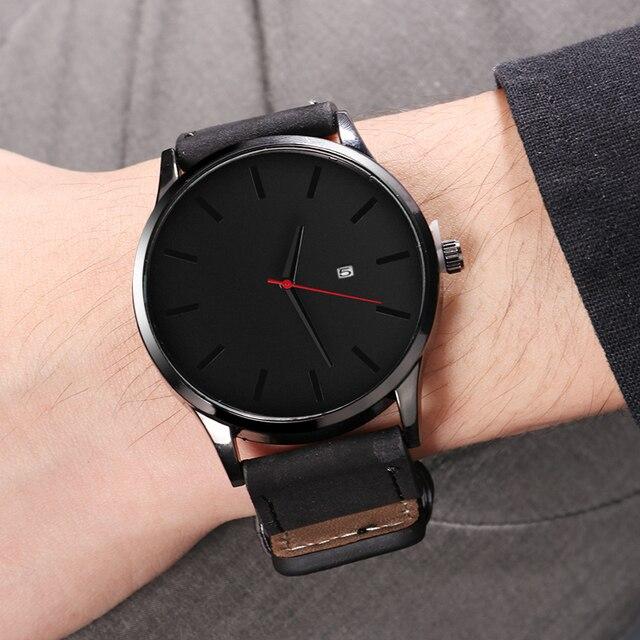 Reloj deportivo de moda erkek kol saati, reloj de cuero para hombre, reloj de calendario para hombre masculino