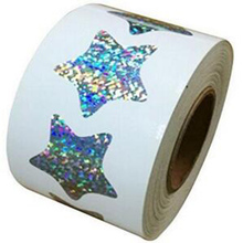 Wootile Glitter Star Shape Stickers - 1.1 Inch 500 Per Roll Shiny Metallic Foil self-adhesive Teacher Supplies