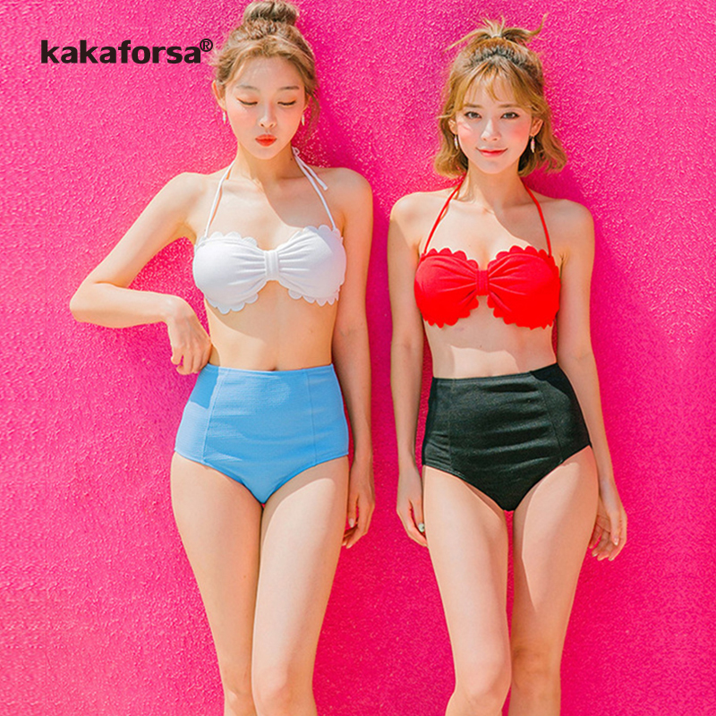 Kakaforsa Sexy Bandage Bikini Set Halter Swimwear Women 2018 Swimsuit High Waist Push-up  Solid Bikinis Bathing Suit for Girls sexy women brazilian print halter bikini bathing suits swimsuit for girls high neck low waist bikinis push up swimwear