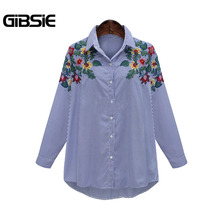 GIBSIE Plus Size Women Clothing Floral Embroidery Blue Striped Blouse Shirt Women Tops 2017 Brand Long Sleeve Casual Blusas