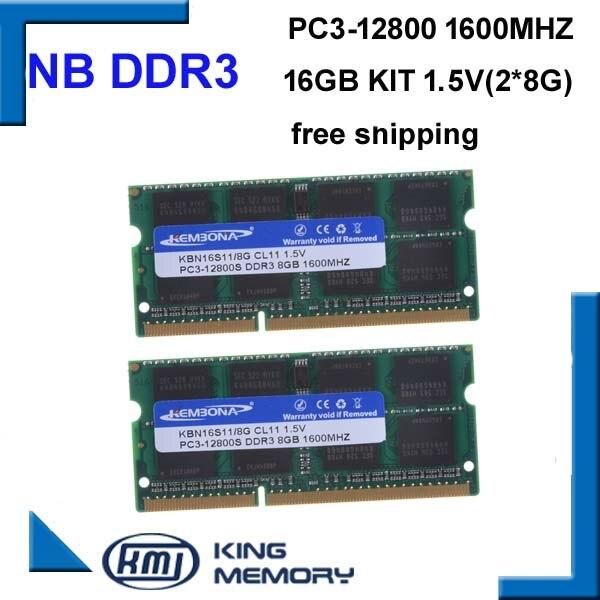 KEMBONA livraison gratuite meilleur prix sodimm ram portable ordinateur portable DDR3 16 gb (kit de 2 pcs ordinateur portable ddr3 8 gb) PC3-12800 204pin mémoire ram