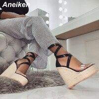 Aneikeh/модные сандалии из пвх; женские прозрачные сандалии; Туфли-лодочки на высоком каблуке с ремешком и пряжкой; черные вечерние туфли-лодоч...