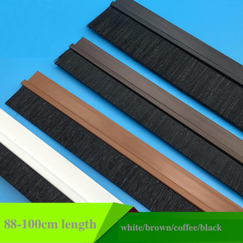 PVC Brush Door Sweep Seals Bottom Adhesive Detachable Dismountable 15mm 2cm 25mm 3cm 35mm 4cm 5cm 10cmx88cm 1m White Brown Black