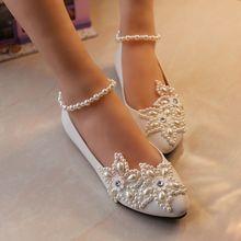 2018 kobieta biała kość słoniowa plus rozmiar 34-41 płaskie buty ślubne s perła anklet brides buty niskie szpilki damskie buty ślubne duża sprzedaż tanie tanio Mieszkania Dla dorosłych Stałe APRUUK Slip-on Podstawowe String bead Wiosna jesień Gumowe Pasuje prawda na wymiar weź swój normalny rozmiar