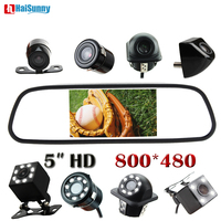 HaiSunny 5 Inch Car Parking Rearview Mirror Color 2 Video Input With Rearview Mirror Camera For Parking Monitor System