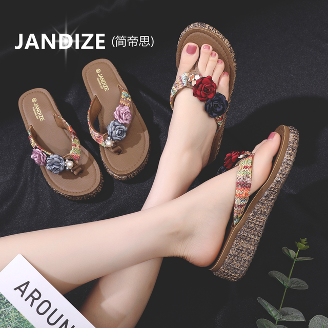 Flowers New Style With Slippers Women Summer Fashion Wear Wild Clips Flip-flops Thick Bottom Non-slip Beach Sandals And Slippers